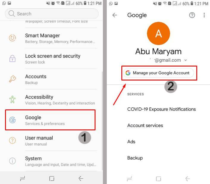 pengaturan akun google di hp android