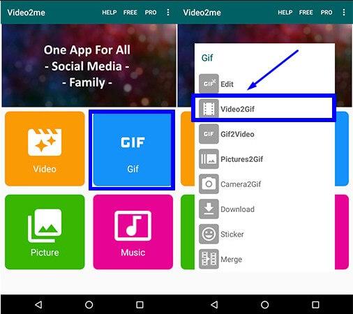 1. Buka Aplikasi Video2me dan pilih GIF