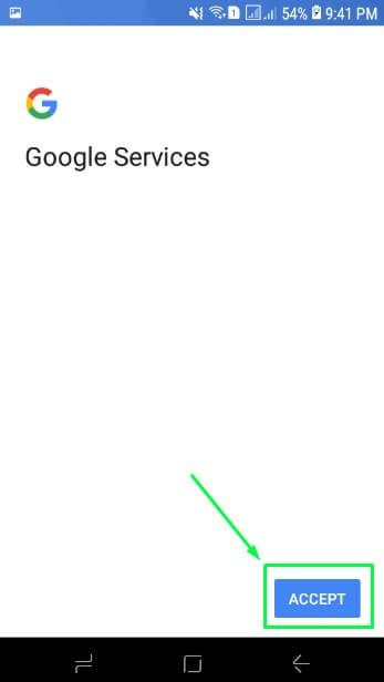 12. Pilih Accept di Google Services