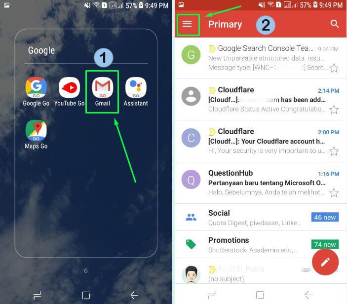14. Buka aplikasi Gmail di HP
