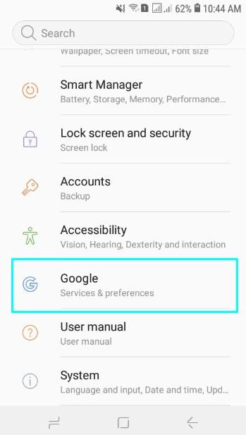 Pilih menu Google
