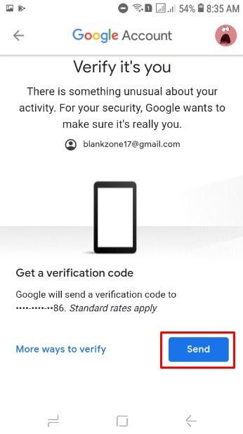 Pilih Send untuk meminta kode verifikasi email lewat SMS