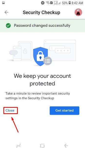 Password akun Gmail sudah berhasil diganti dan pilih saja Close