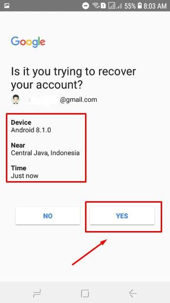 Pilih YES untuk merecover akun gmail kamu