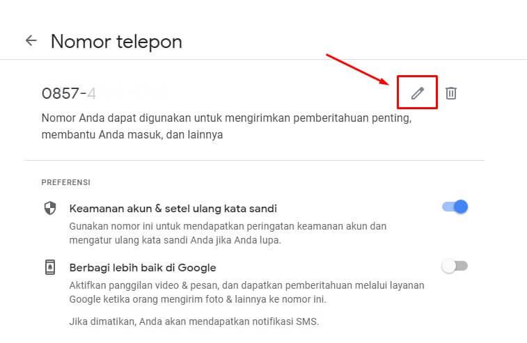edit nomor hp di google