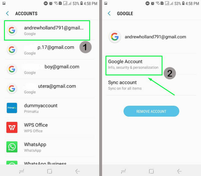 3. Pilih email Gmail yang mau dihapus lalu pilih Google Account