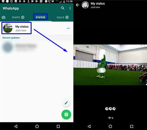 6. Lihat status yang sudah dibuat di menu status pada WhatsApp