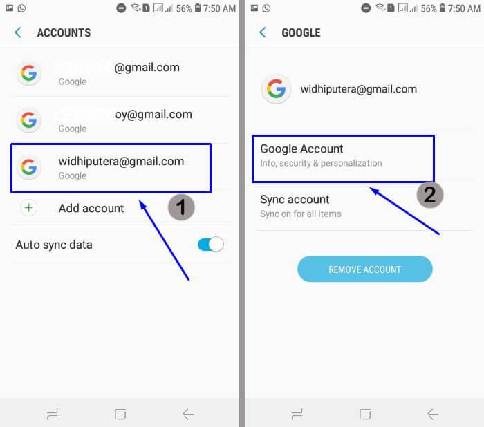 Pilih akun email yang akan diganti passwordnya
