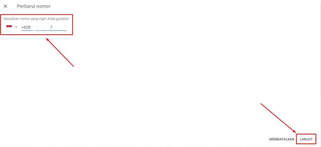 ganti nomor hp di gmail dengan pc