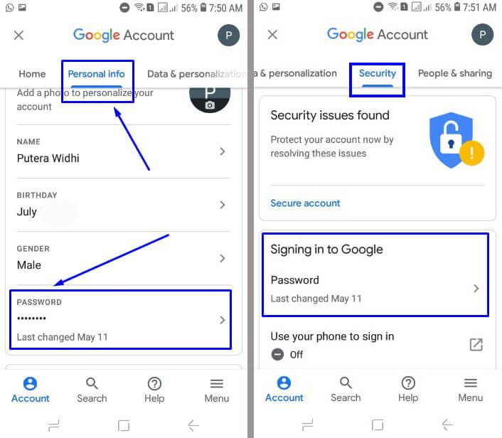 Di Google Account pilih menu Personal info atau bisa Security dan geser kebawah pilih PASSWORD