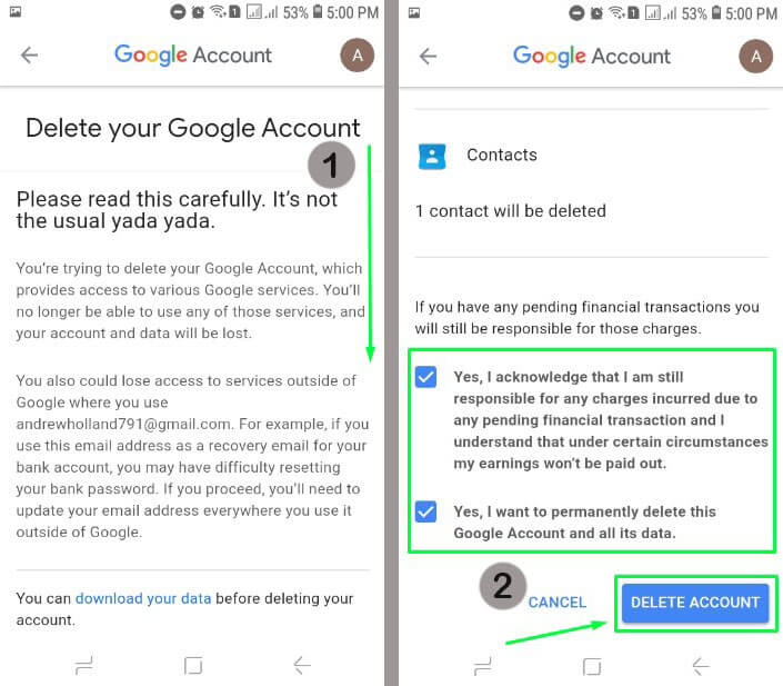 7. Pada tampilan Delete you Google Account kamu geser kebawah, lalu centang di dua Yes dan pilih Delete Account