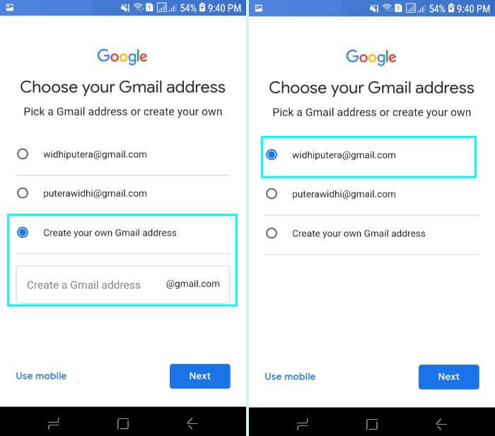7. Pilih alamat url email dari gmail atau bisa buat sendiri
