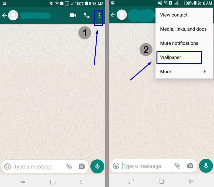 Buka Chat WA, pilih tiga titik dan pilih Wallpaper