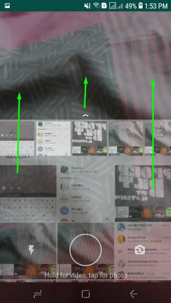 Geser ke atas untuk melihat gambar atau video di galeri untuk dibuat status