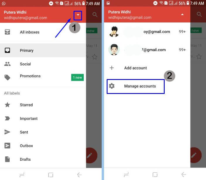 Pilih icon segitiga terbalik dan pilih Manage accounts