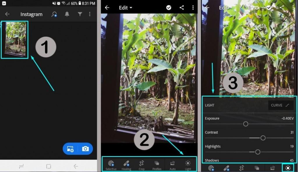 3 Edit Foto di Aplikasi Adobe Lightroom menggunakan fitur atau tool yang tersedia