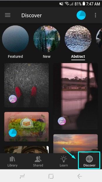 Menu Discover di Adobe Lightroom