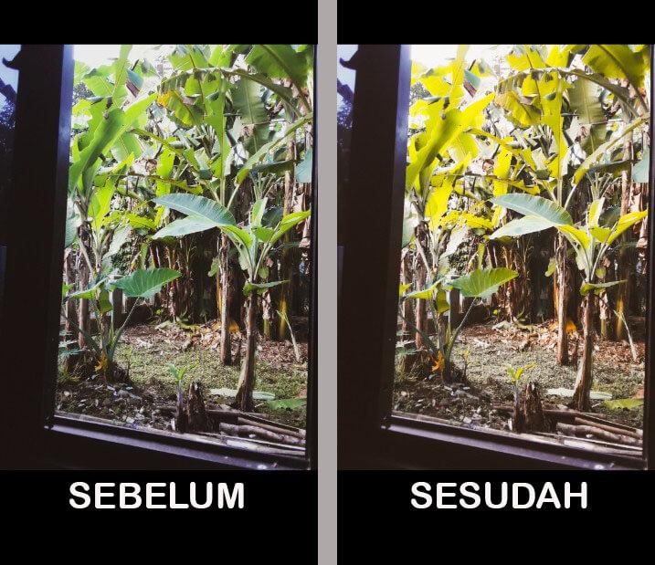 Sebelum dan sesudah di edit dengan Rumus Lightroom