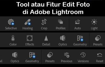 Berbagai Tool atau Fitur Edit Foto di Adobe Lightroom