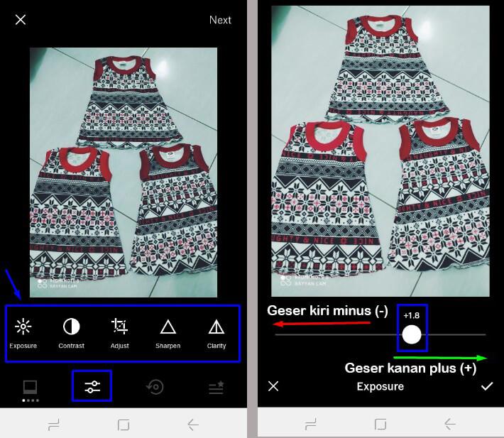 edit pengaturan filter di VSCO geser kiri dan kanan