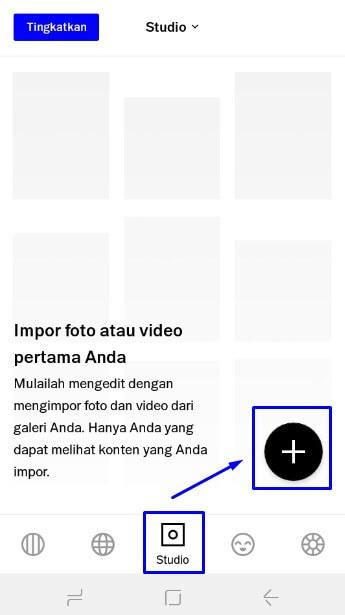 pilih ikon studio dan ikon plus untuk edit foto di VSCO