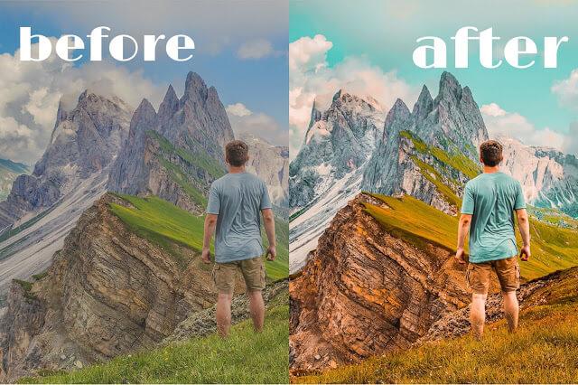 Sebelum dan sesudah diedit menggunakan Rumus Lightroom Keren
