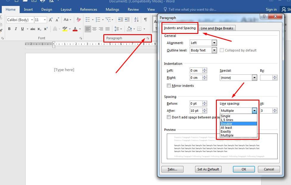 Cara mengatur spasi antar baris kalimat di Microsoft Word