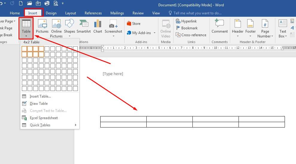 Cara membuat tabel sederhana di Microsoft Word