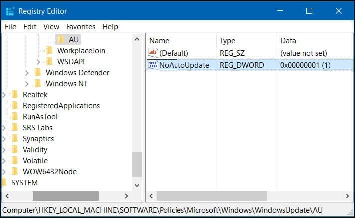 Buka folder AU pada Windows Update di Registry Editor