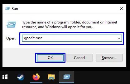 Buka Local Group Policy Editor melalui Windows Run