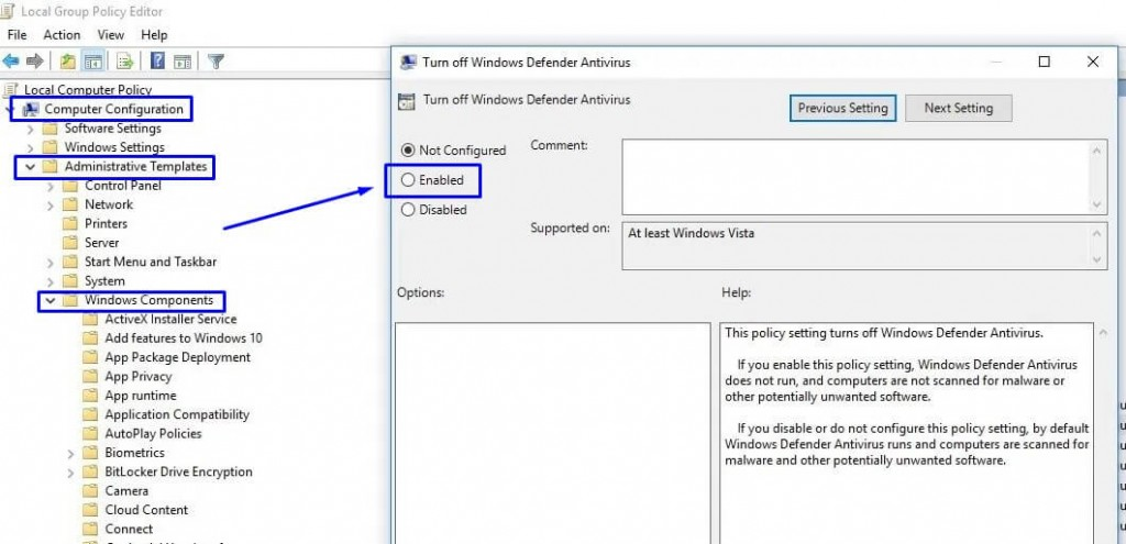 Enabled Windows Defender di jendela Turn Off Windows Defender