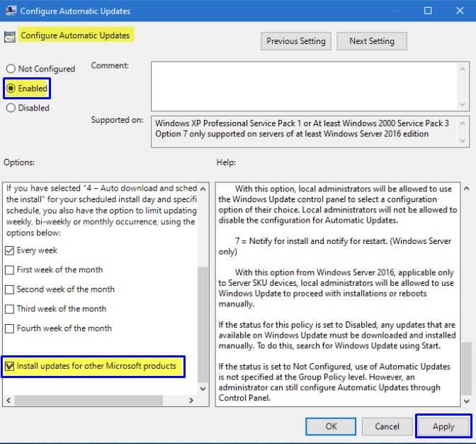 Ubah jadi Enabled di Configure Automatic Updates