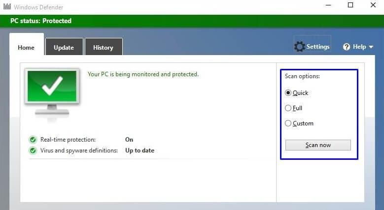 Full Scan dan Quick Scan Windows Defender