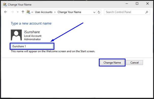 Ketik nama akun yang baru dan pilih Change Name