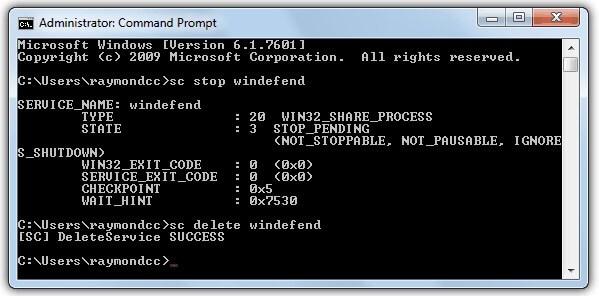 Ketikan Kode di CMD untuk menonaktifkan Windows Defender