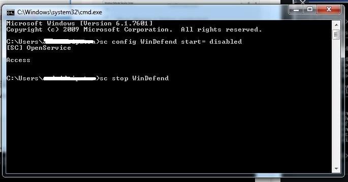 Masukkan Kode pada CMD untuk menonaktifkan Windows Defender