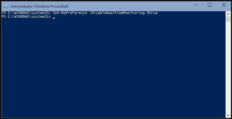 Masukan kode untuk Menonaktifkan Windows Defender di Windows PowerShell