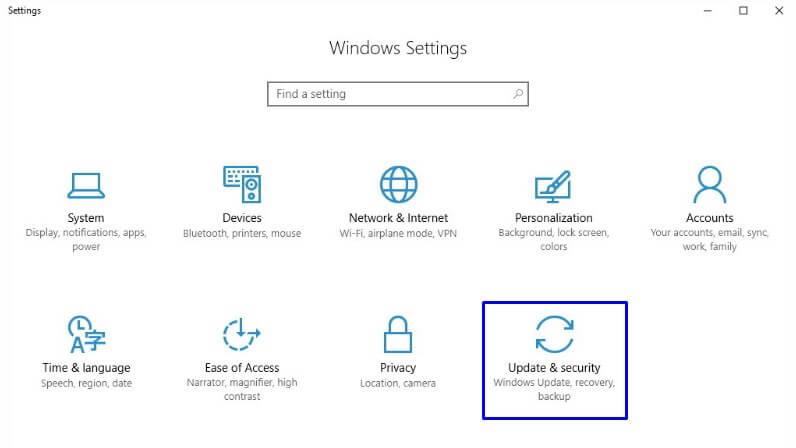 Buka Update & Security di Settings