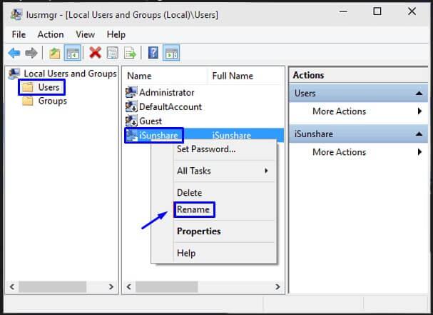 Buka folder Users dan pilih Rename di akun Usernya