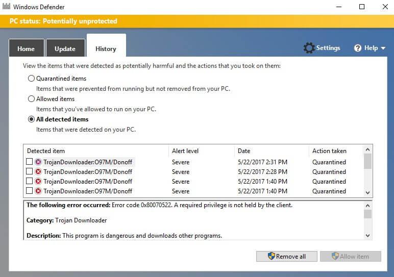 Quarantine Virus di Windows Defender