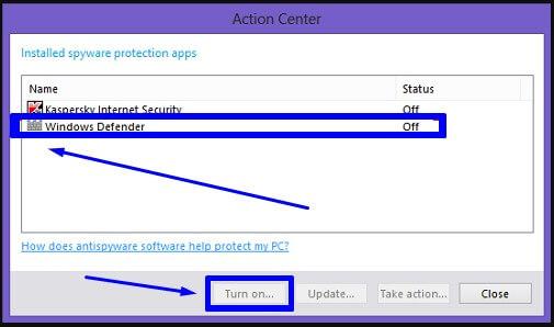 Turn on antispyware di Windows Defender