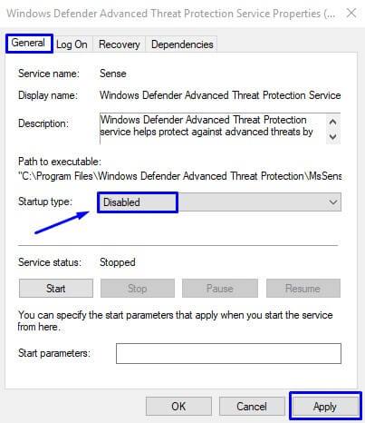 Pilih Disable pada Startup Type untuk menonaktifkan Windows Defender di Windows 10