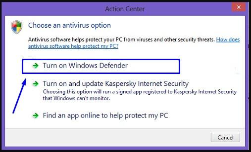Turn on Windows Defender di Windows 8.1