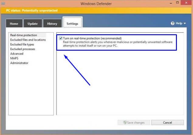 Turn on real-time protection di Windows Defender pada Windows 8