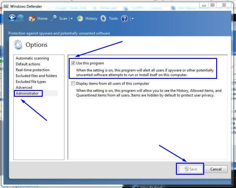 Windows Defender di Windows 7 aktif