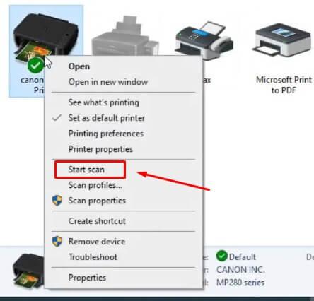 Pilih Printer untuk melakukan scan