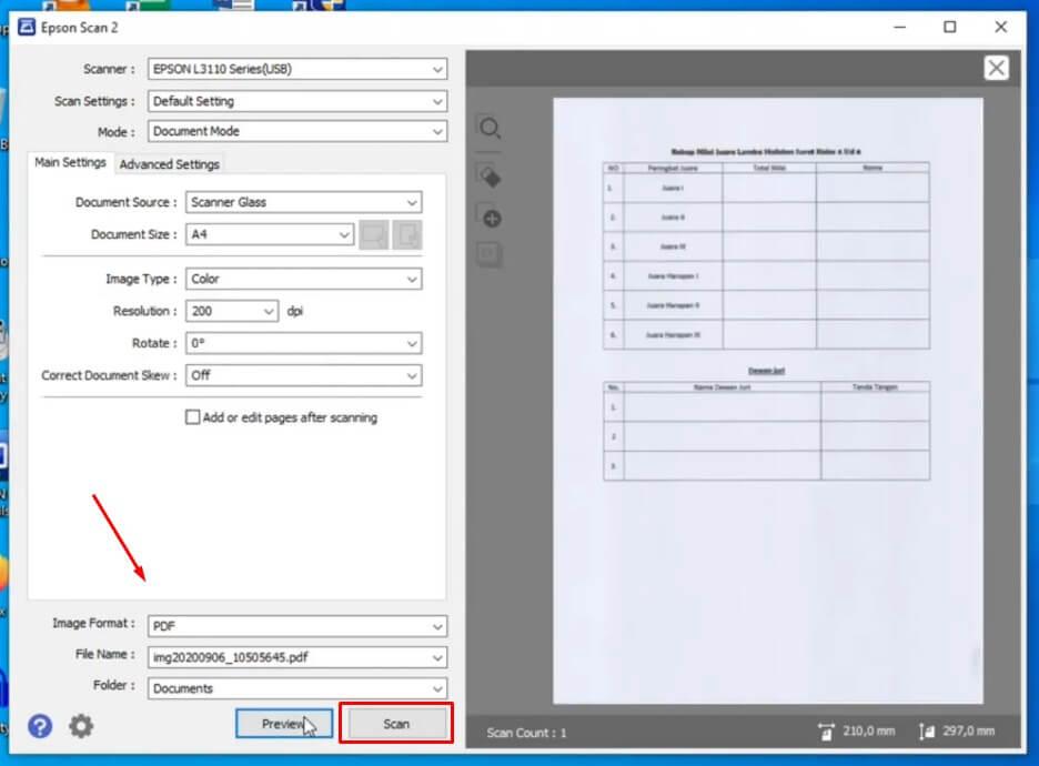Lakukan Pengaturan Dokumen Hasil Scan sebelum memulai proses scan