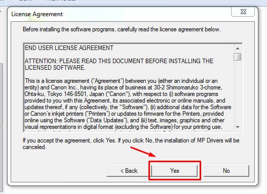 Setujui License Agreement instalasi driver printer