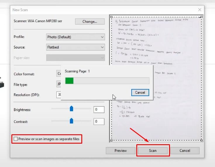 Mulai Proses Scan dengan klik Scan