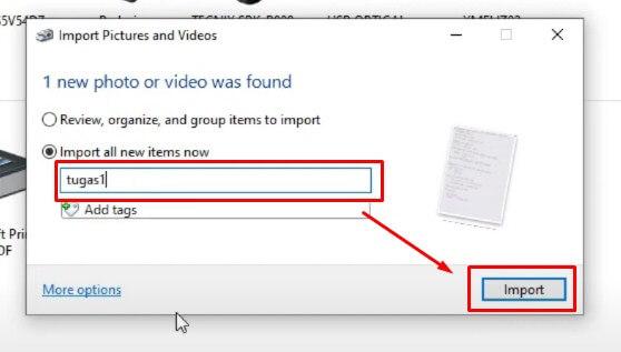 Beri Nama File pada jendela Import lalu klik Import